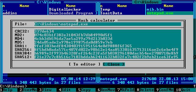 far manager plugins Расчет контрольной суммы для выбранного файла crc32 md2 md4 md5 sha1 sha256 sha384 sha512
